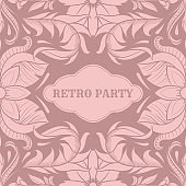 Retro party card,1920s style art deco frame, vintage ornament, twenties, vector illustration