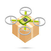 AI Artificial intelligence technology delivery drone isometric icon