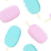 Stick ice cream seamless pattern set, blue and white icing with stripes and dressing