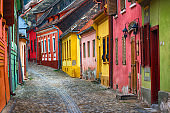 Beautiful cityscape of colorful european street in old town