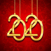2020 new year realistic gold text numbers, postcard, banner, vector illustration