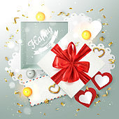 Happy Valentine's day banner card, holiday composition with gift box and romantic elements, vector illustration