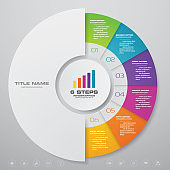 Modern 6 steps cycle chart infographics elements. EPS 10.