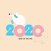 Cute cartoon rat with cocktail and numbers 2020 from the donuts. Cool mouse in glasses on beige background. Happy new year and Christmas. Year Of The Rat 2020. Holiday greeting card. Flat vector illustration.