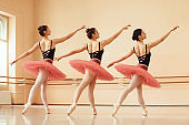 Group of ballerinas rehearsing together at ballet studio.