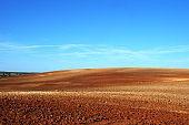 Plowed field in the Alentejo plain of Portugal