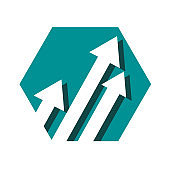 arrows 3d vector shinning up rising icon