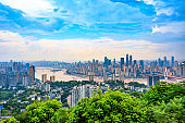 City buildings and beautiful blue sky in Chongqing