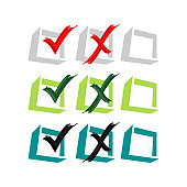 voting Yes or No vector logo design False or True icon in trendy design style