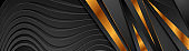 Abstract black papercut waves and bronze stripes background