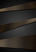 Black abstract corporate background with bronze lines