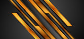 Black and golden abstract tech background with glossy stripes