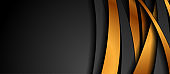 Black and bronze abstract wavy stripes corporate background