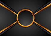 Black and golden abstract technology background with circle frame