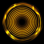 Fiery orange glowing electric neon rings abstract background