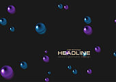 Abstract background with dark violet and blue beads