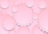 Pink and golden paper wavy circles abstract cute background