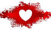 White heart on red grunge blot background