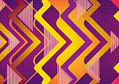 Retro geometric abstract orange violet tech background
