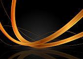 Luxury golden glossy waves on black background