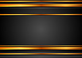 Black and bronze abstract tech background with glossy stripes