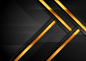 Black and golden abstract hi-tech background