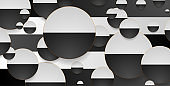 Contrast black and white circles with golden outlines geometric background