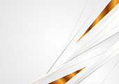 Grey corporate abstract background with bronze lines