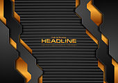 Black and golden technology background with dark striped texture