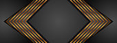 Black and golden arrows abstract tech banner