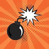 Comic bomb icon on orange background in pop art style. Vector