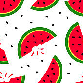 Bright summer seamless pattern with slice watermelon. Vector illustration