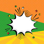 White empty speech bubble with stars and halftone dots shadow on colorful background. Comic sound effects in pop art style. Vector