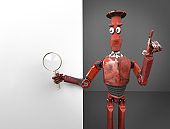 retro red robot searth in internet 3d render.