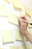 Hand Writing on Blank Sticky Notes Wall