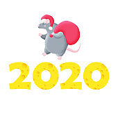 Funny Christmas card. Chinese New Year. Year of the rat. Vector template for print, design. 2020