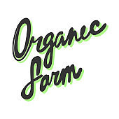 Organic farm. Green eco bio sticker for social media content. Vector hand drawn illustration design.