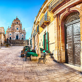 The baroque Saint George cathedral of Modica and Duomo square