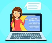 Online consultation. A young girl holds a consultation online. The girl with the headset.