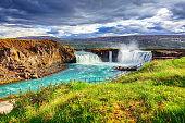 powerful Godafoss waterfall