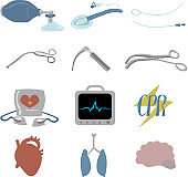 Set of objects for cardiopulmonary resuscitation.