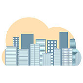 Business center. Modern buildings, business center on a light background. City skyline buildings.