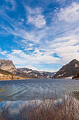 Clear Cold Landscape with blue sky at Grundlsee, Austria, winter, frozen lake. Travel spot