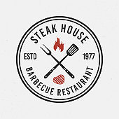 Steak house, barbecue logo. Circle, round logo of bbq. Vintage emblem for restaurant, barbecue. Trendy simple design. Vector illustration
