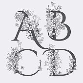Vector Hand Drawn floral monograms and logos