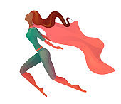 Illustration of a flying  African American super woman in costume with cloak. Elegant textural stylization of the girl.