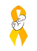 Childhood cancer. Sleeping baby and yellow ribbon. Children cancer awareness. Symbol of hope and care. Vector element