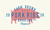 Pork Ribs . Pig silhouette. Vintage poster for restaurant, barbecue, steak house, bar. Vintage typography. Vector template.