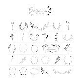 Vector Hand Drawn Floral Frames Wreaths Branches