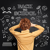 Holidays over. Shocked child on chalkboard background with Back to school text
